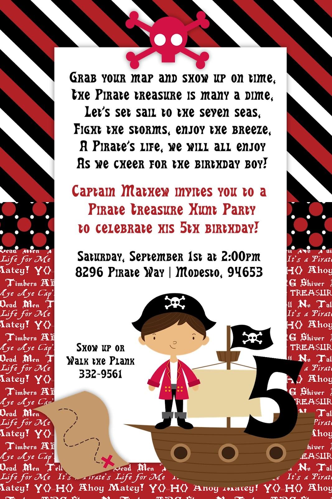 Pirate 4th birthday invitation wording pirate birthday party invitation wording filmwisefo