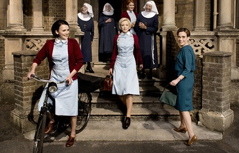 Call the Midwife S4 cast: Barbara, Trixie, Shelagh, Sister Julienne, Patsy, Sister Monica Joan and Sister Evangeline standing outside Nonnatus House
