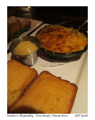 Image of Corn bread and mac and cheese at Southern Hospitality in Hell's Kitchen NYC, New York