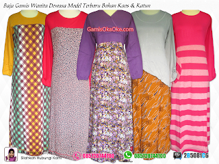 Baju busana muslim model gamis untuk wanita dewasa merk oka oke dengan bahan kaos katun harga murah dan berkualitas bagus.