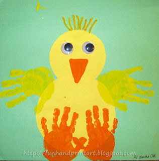 Handprint Baby Chick Craft for kids