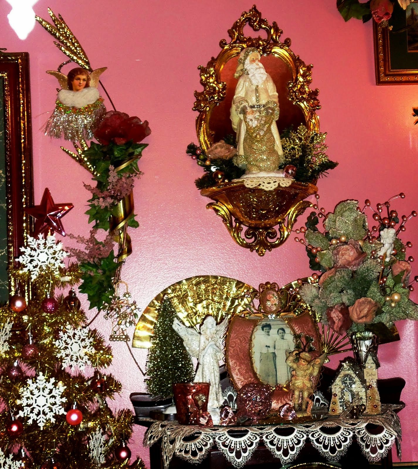 A Pink,White & Gold Christmas in the Dining Room,( Other Half), Part 7  Christmas Home Tour