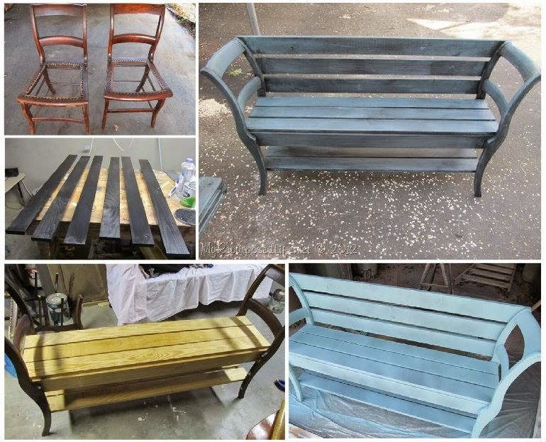 Diy bench from old chairs creative ideas for Banc avec 2 chaises
