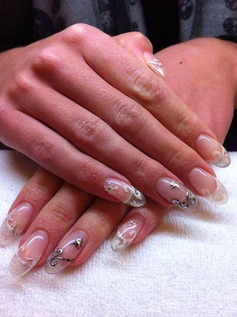 Acrylic sculptured nails +  custom mixed gel nail art crystal nails acrylics + LED polish acrylics LED polish and stones acrylics + LED polish manicure leopard feat nails