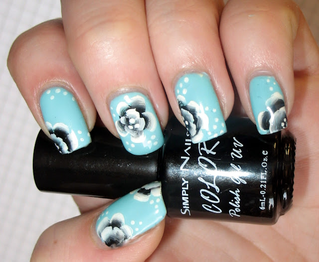 turkusowe zdobienie paznokci manicure hybrydowy simply nails