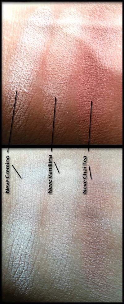 Neve Cosmetics - Ombretti Minerali - Swatch - Da sinistra a destra: Cremino, Vanillina e Chai Tea