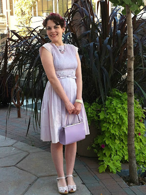 modcloth.com, vintage lilac J Harlans original dress, Swedish Hasbeens laser cut sandals, light purple dress, Salon Sophistical necklace, floral head band, floral crown, Butterfly Enclosure Wedge, vintage style, vintage fashion, 1950s, 50s, ladylike, pretty, girly, Suzanne Amlin, A Coin For the Well, Windsor Ontario fashion blog, style blogger