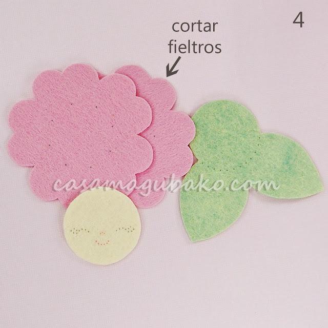 Flor en Fieltro - Cortar Piezas de Fieltro by casamagubako.com