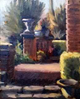 Oil painting of brick pillars and urns in amongst a garden setting.