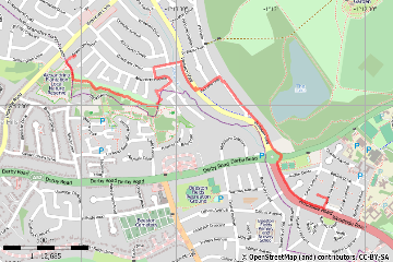 Route plotted using Maperitive