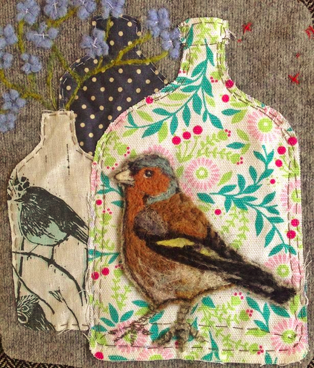 felt bird, felt mixed media,  Lou Tonkin, mixed media textile art, modern applique, contemporary applique, felt and applique, modern felt, felt art, felt textile art, modern felt, contemporary felt