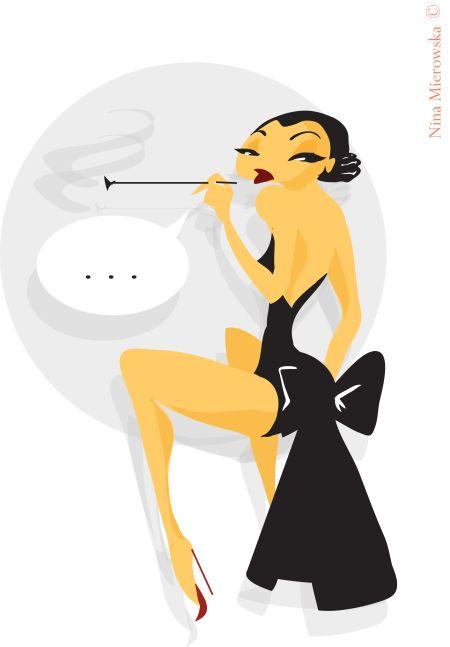 Nina Mierowska ilustrações pin-ups garotas caricatas sensuais mulheres Fumando