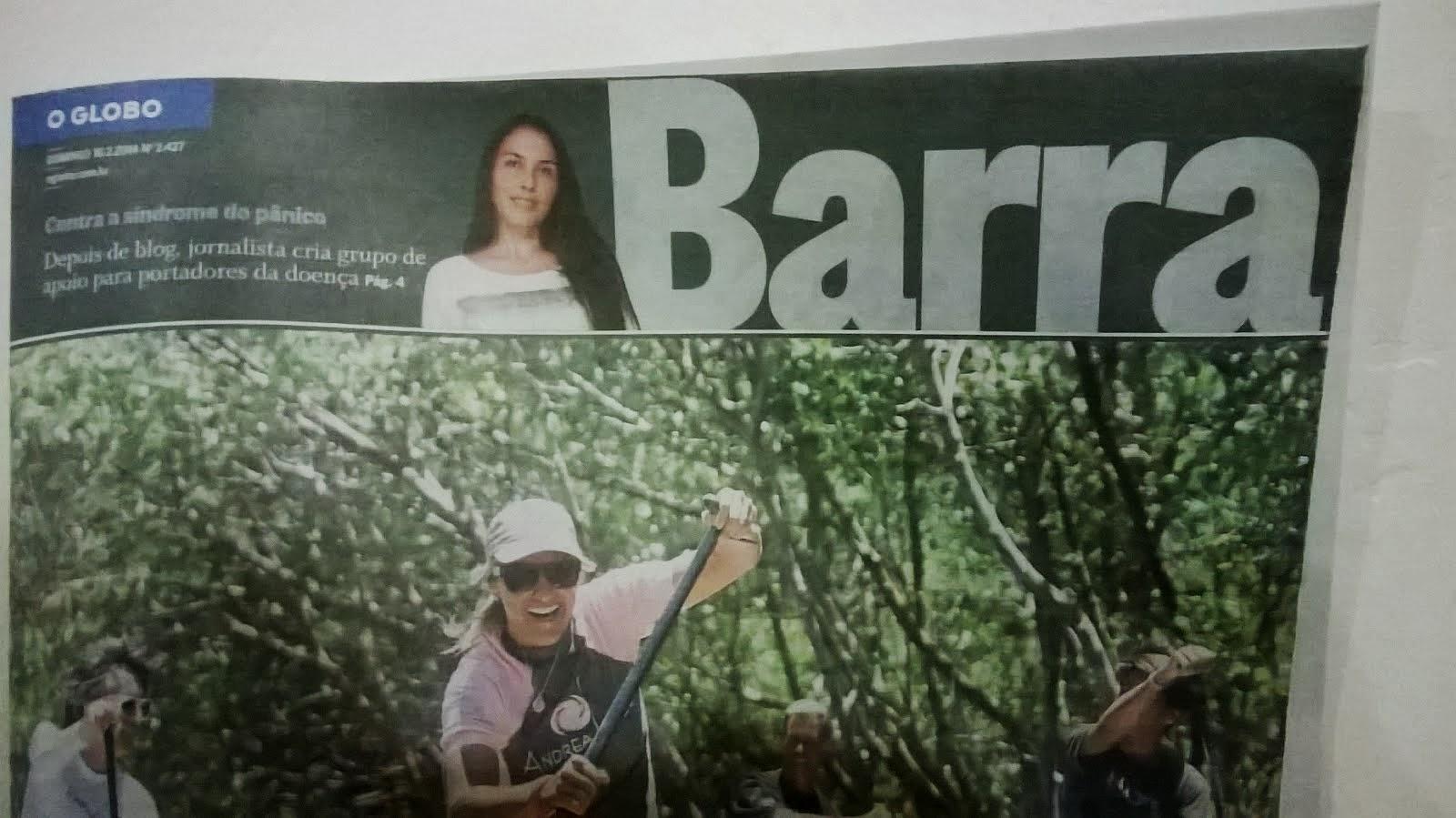 Matéria sobre o grupo de apoio publicada no jornal O Globo Barra (fev/2014)