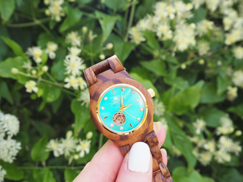 Jord Wood Watch Cora Zebrawood and Turquoise