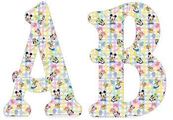Alfabeto de Bebés Disney en tonos pastel.