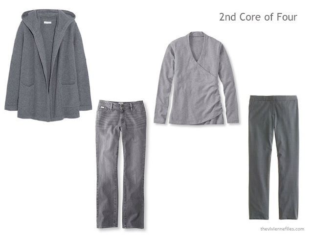 Grey Core of Four with a hooded cardigan, wrap tee shirt, jeans and trousers