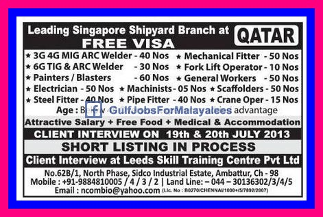 singapore shipyard jobs at qatar free visa gulf jobs for malayalees. Black Bedroom Furniture Sets. Home Design Ideas