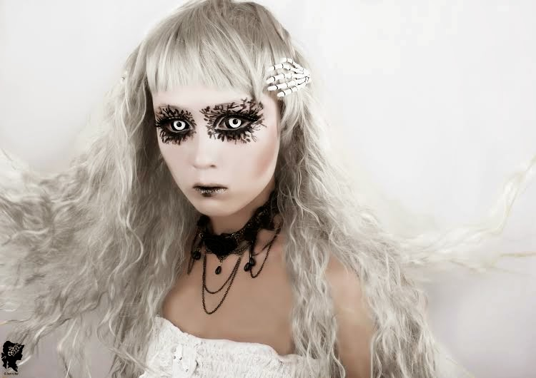 Get the Charmed-Queen Look with Phantasee White Black Sclera Lenses