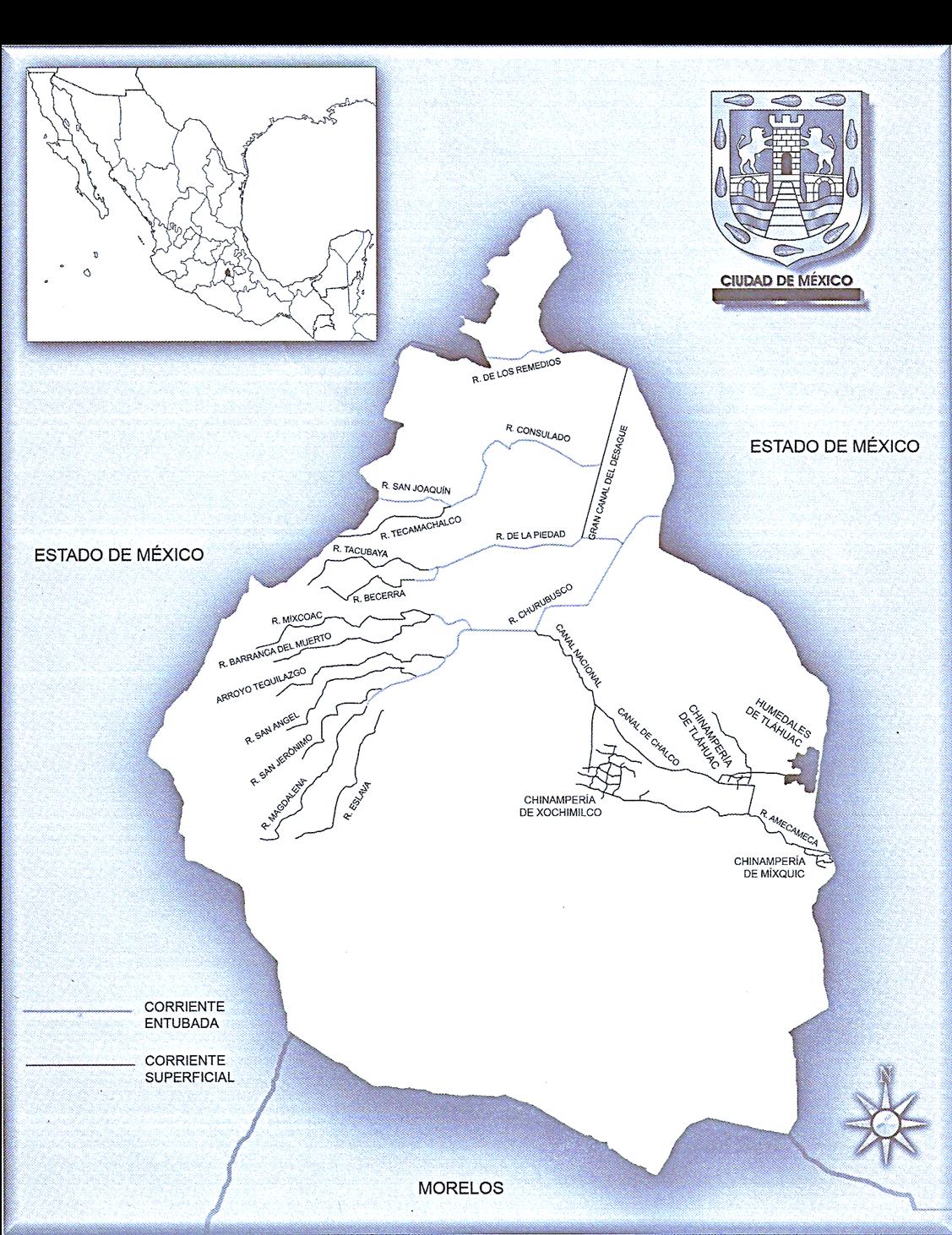 Mapa Hidrografico De Mexico