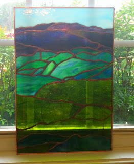 and purple stained glass panel made by gail del greco of glassygal on etsy
