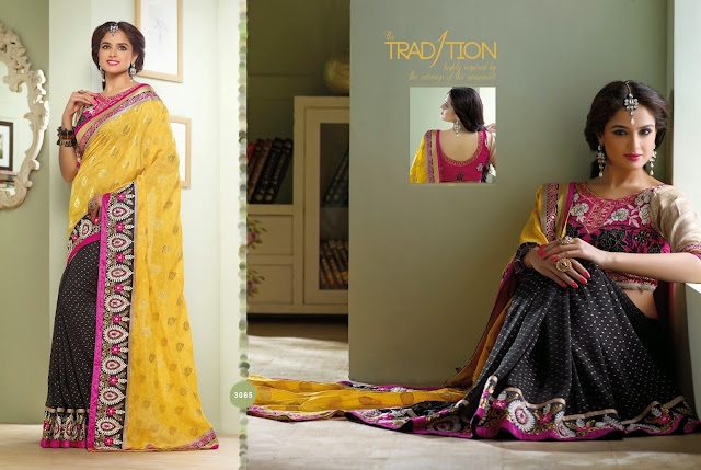 Black & Yellow Crepe Saree With Banaras Sleeves & Dupion Silk Blouse & Butta Work