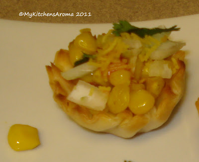 The sizzling pan appetizers corn in phyllo cups for Phyllo dough recipes appetizers indian