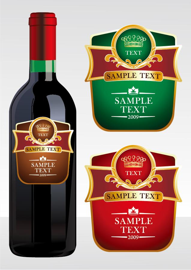 ワインを題材にしたクリップアート wine bottle stickers イラスト素材3