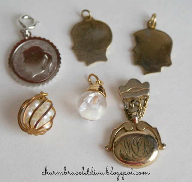 silhouette charms, monogram charm, mustard seed charm, pearls in cage
