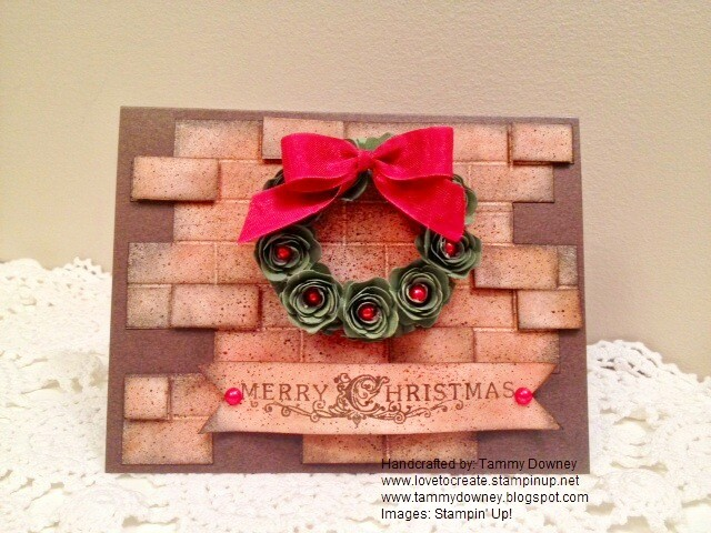 wreath on brick wall christmas card
