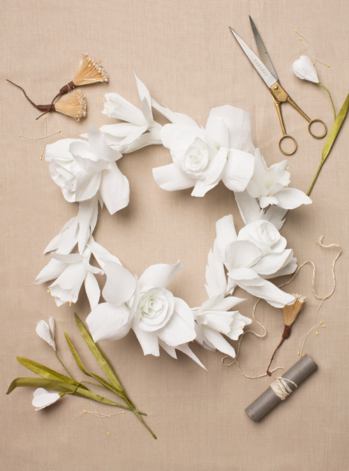 Paper flower crown in white roses