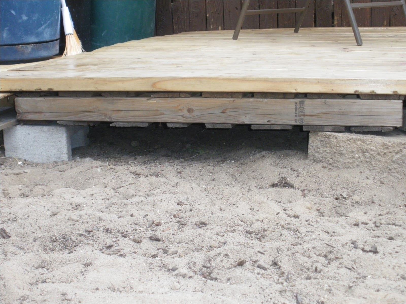 Renewed projects redneck pallet deck for How to make a pallet deck