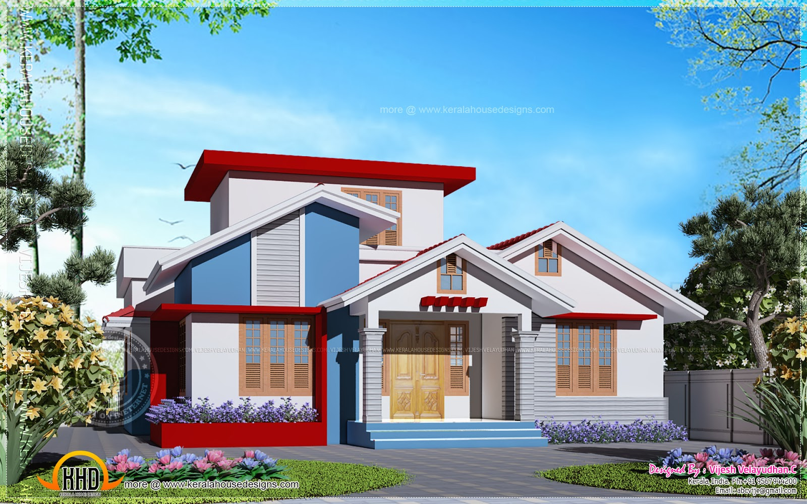 Kerala home design single floor indian house plans for Single floor house plans kerala style