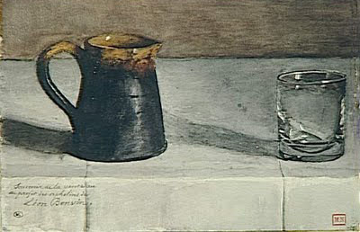 Léon Bonvin Still Life- Glass On A Table before 1866 Louvre Museum-Paris via The Blue Lantern as seen on linen & lavender (l&l)