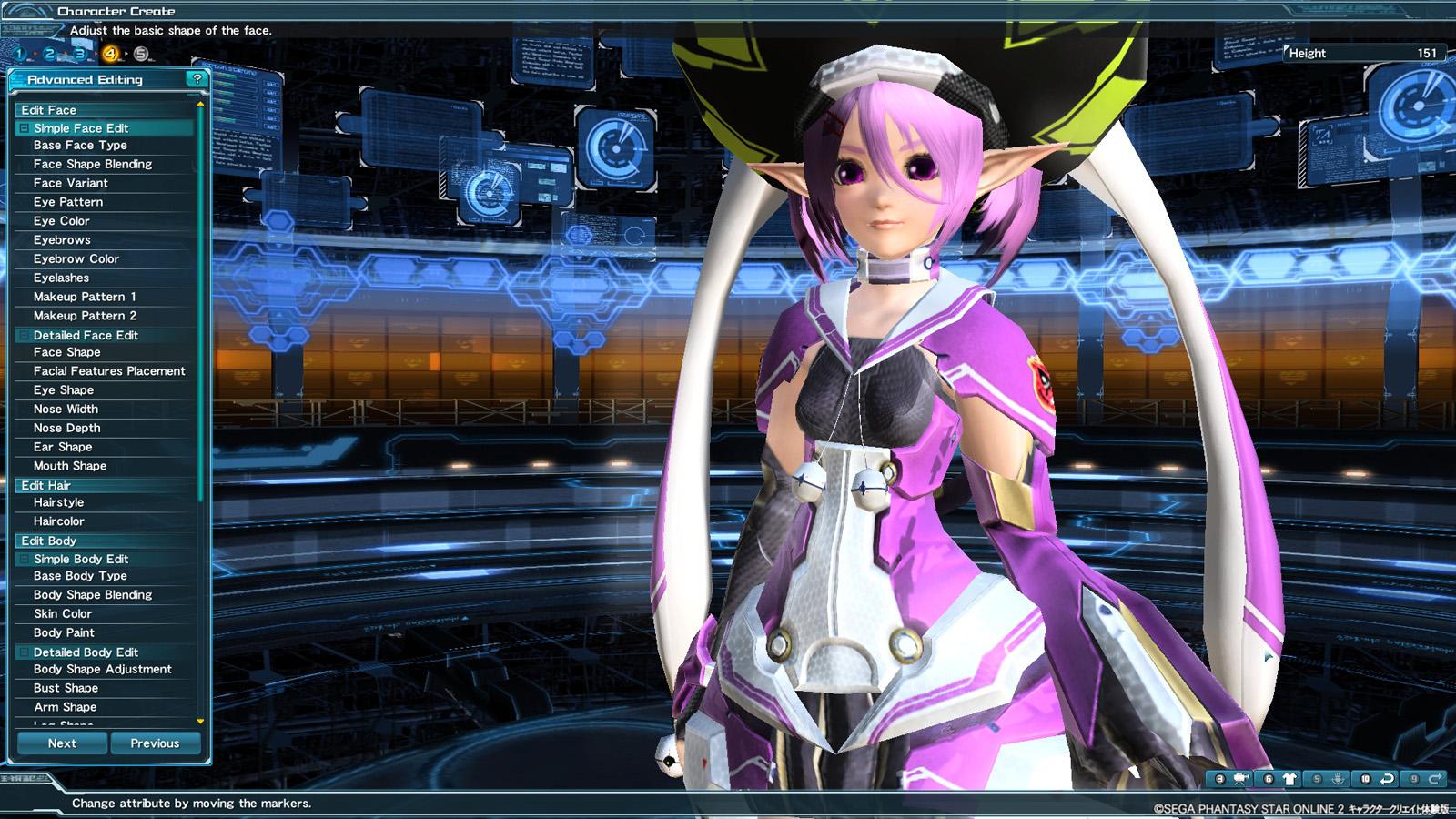 Phantasy Star Online 2 Character Creator