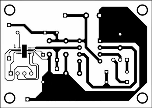 Fig. 2: An actual-size, single-side PCB for the brushless DC motor driver