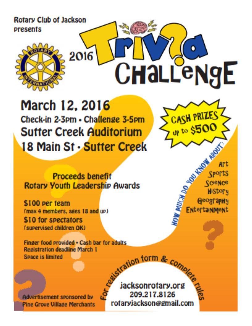 "Jackson Rotary ""Trivia Challenge"" - Mar 12"