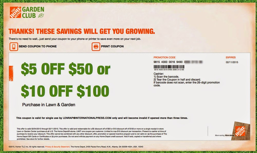Printable Coupons Home Depot Coupons