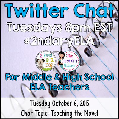 Join secondary English Language Arts teachers Tuesday evenings at 8 pm EST on Twitter. This week's chat will focus on teaching novels.