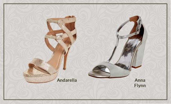 Materiais metalizados em sapatos