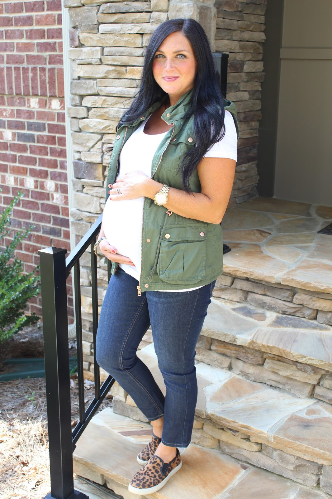Maternity style, military vest