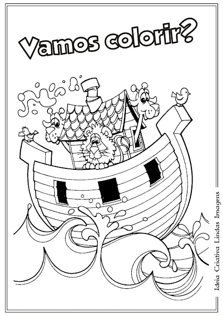 Desenho bíblico para colorir - A arca de Nóe