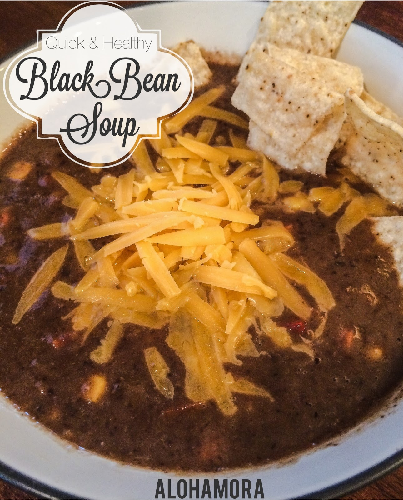 Quick/Fast to make, healthy vegetarian and gluten free meal.  This Black Bean Soup is amazing!  Flavorful, hearty, and almost chowder like.  Alohamora Open a Book http://www.alohamoraopenabook.blogspot.com/