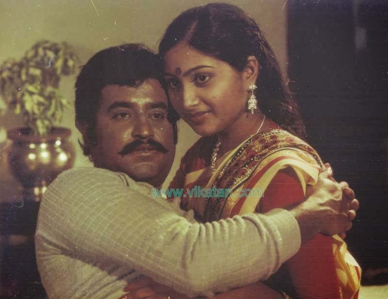 Rajinikanth & Rajalakshmi in 'Moondru Mugam' (1982) Tamil Movie