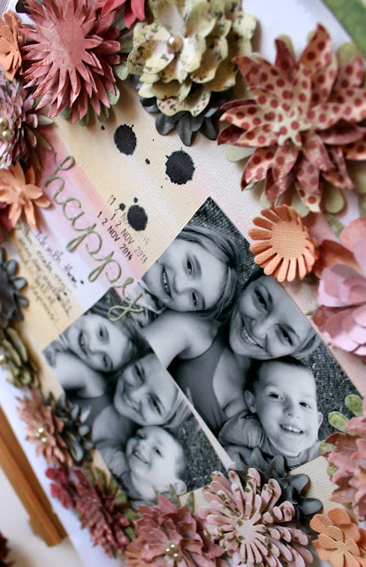 """ Happy"" layout by Bernii Miller for Couture Creations using Floral Dies metal"