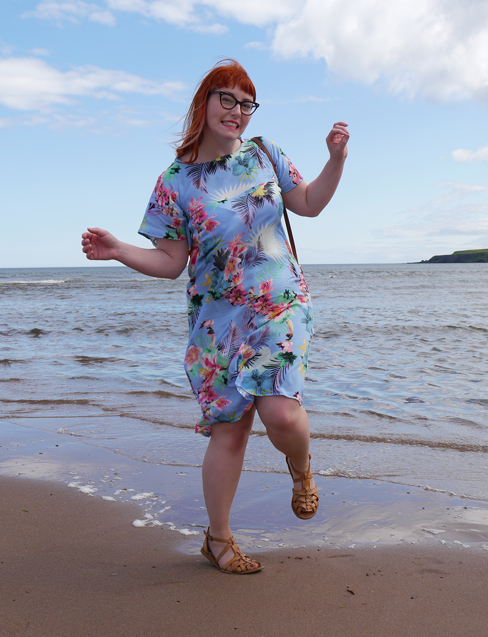 summer style, tropical style, beach style, DIY dress, dressmaking, Styled by Helen: Tropical, red head, ginger, Topshop sandals, Tom Pigeon earrings, The Whitepepper bread bag
