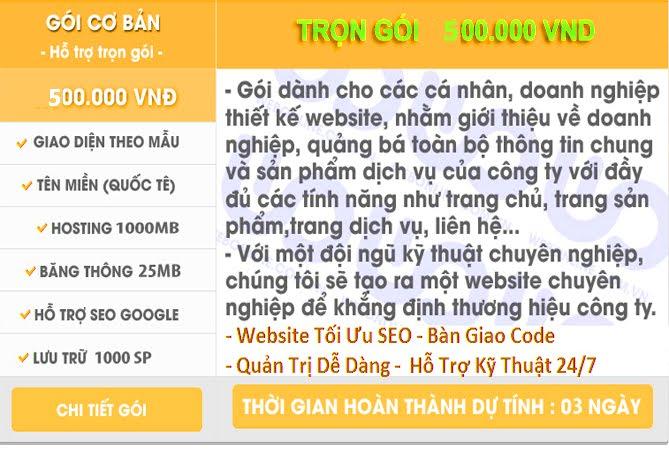 Thiết Kế Trang Web Trọn Gói Gía 500k