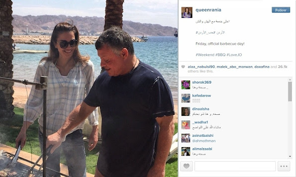 Queen Rania of Jordan, shared a picture on Instagram saying that Friday is the official barbecue day