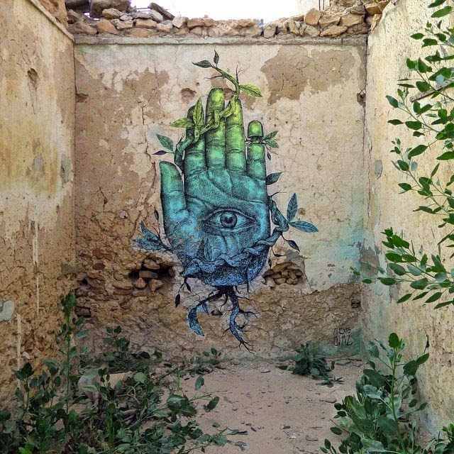 """Alexis Diaz is now in Djerba, Tunisia where he just finished working on this sweet new piece entitled """"Tus manos construyen lo que tu alma ve"""" (Your hands build what your soul looks)."""
