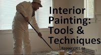 using an extended paint roller in prepared room