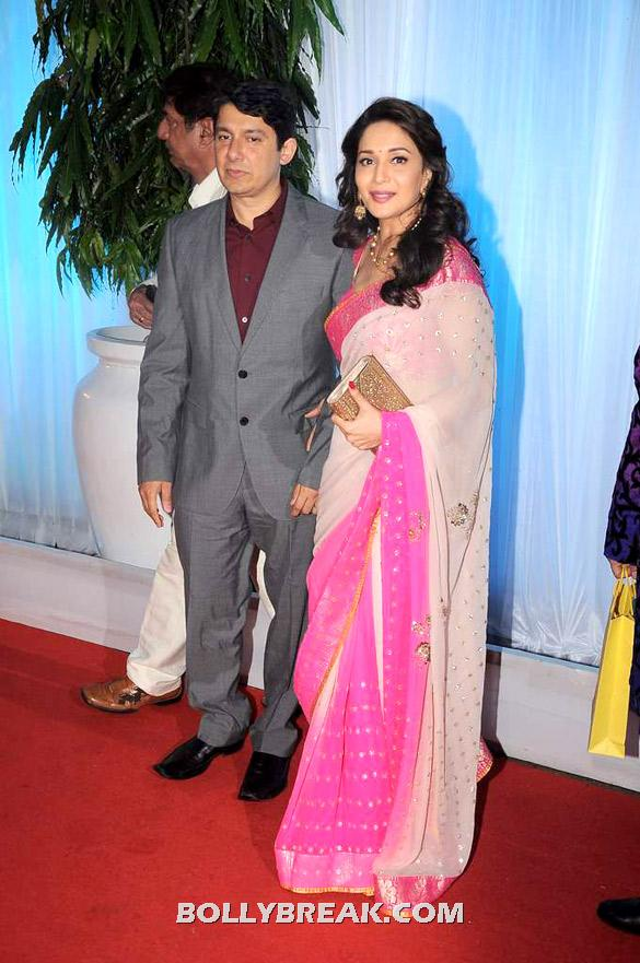 Dr Shriram Nene, Madhuri Dixit in pretty white and pink sari - Madhuri Dixit, Vidya Balan and Tabu@ Esha Deols wedding reception